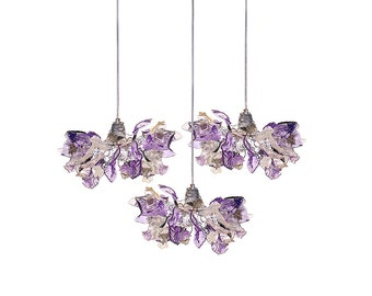 Triple Pendant Chandelier ceiling lighting - Purple color flowers and leaves for Kitchen Island, Dinning Room.