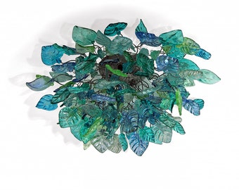 Ceiling mount light with Sea color flowers and leaves for dinning room, living room bedroom.