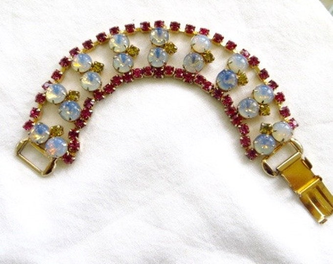 Moonstone Rhinestone Bracelet Pink Yellow Rhinestone Vintage 1960s Jewelry
