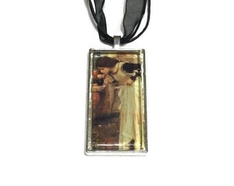 At The Shrine Pendant, John Waterhouse Art Pendant, 2x1 inch Pendant, 16 inch Black Organza and Stringing Necklace