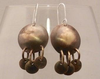 Brass Shield Dangle Hammered Earrings