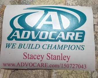 ADVOCARE distributor decal,  personal web address, affiliate link car decal, Advocare representitive,Advocare Car Decal, advocare challenge