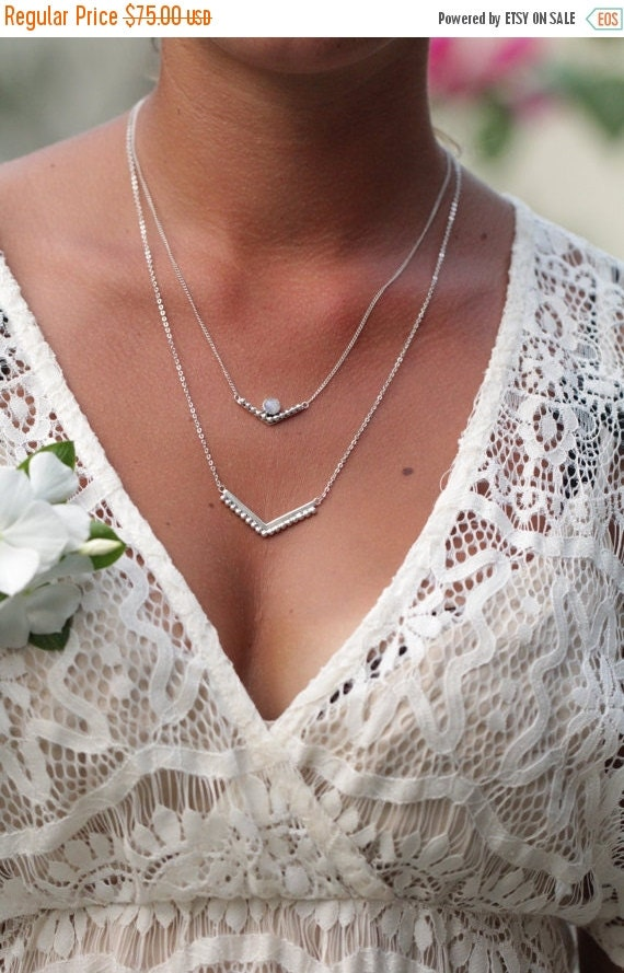 Layering Necklace, Moonstone Necklace, Statement Necklace, Personalized Necklace, Sterling Silver Necklace, Boho Necklace, Bohemian, Gift