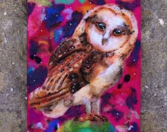 Needle Felted Art, Wool Felt Painting, Barn Owl Painting, Barn Owl Art, Whimsical Art, Fiber Art, Textile Art, Nursery Decor, Original Art