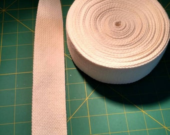 Two inch cotton webbing pre-treated for color fastness;  white by the yard