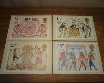 Vintage 1980s British Post Office Stamps Picture Card Series PHQ 49 - British Folklore