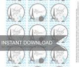 Favor Tags -  Thank you - Merci - Paris Theme - Blue gray and silver  - DIY Printable - Self Download