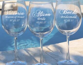 4 Bridesmaid Wine Glasses, Gift for Bridesmaids, Personalized Wine Glasses, Unique Bridesmaid Gift, Wedding Glasses, Bridal Shower
