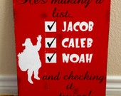 Personalized Santa List Distressed Wooden Sign Christmas Decor Christmas List He's making a list