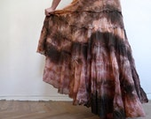 Handmade tie-dyed cotton maxi frill skirt pink with peach and black