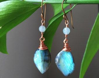 Labradorite Earrings, Copper, Wire Wrapped