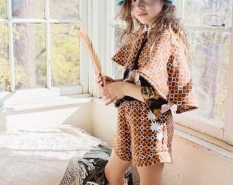 Girls Fabulous Brown Orange Wooly Flower Vintage Shorts