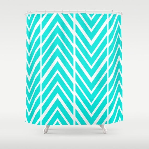 Bright Turquoise Shower Curtain Bathroom Decor Shower