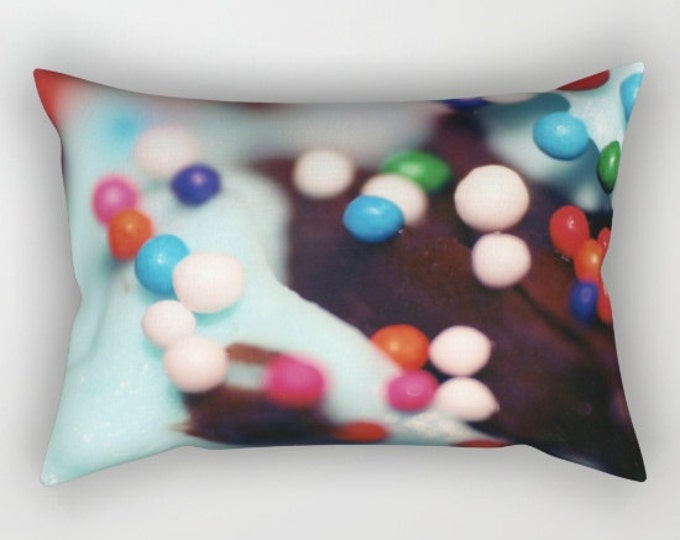 Cupcake Pillow With Insert - Cupcake Sprinkles Photo - Rectangular Bed Pillow - Throw Pillow Cover - Made to Order