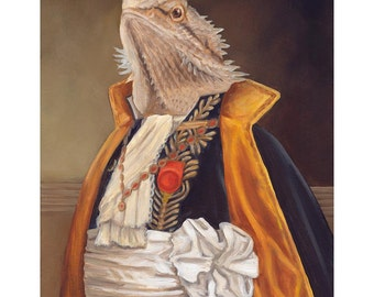 Bearded Dragon, Canvas Prints, Sir Spike the Bearded Dragon, Pet Portrait