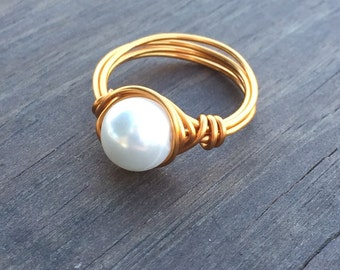 Bronze Wire Wrapped Nested Pearl Ring