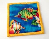 Tropical Fish Hotpad, Fish Mug Rug, Colorful Fish, Tropical Trivet, Colorful Hot pad