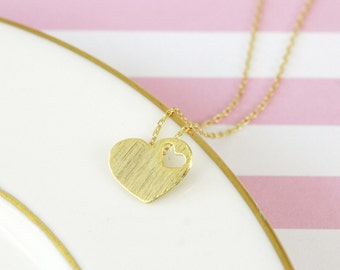 Gold Tiny Open Heart Necklace, Gold Small Heart Necklace,Bridesmaid Gift, Bridal Shower Gift, Flower Girl Necklace, Dainty Necklace- 3032