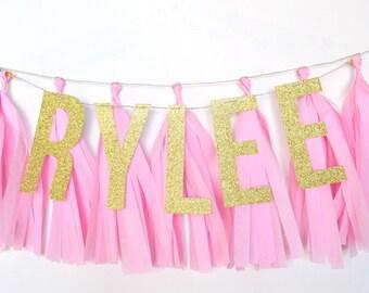 Custom Nursery Glitter Tassel Banner - One Stylish Party