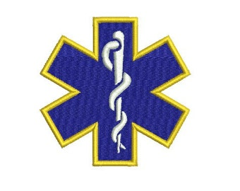 Medical star embroidery design