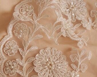 beading cord lace trim, bridal lace border for veil, bridal dress lace