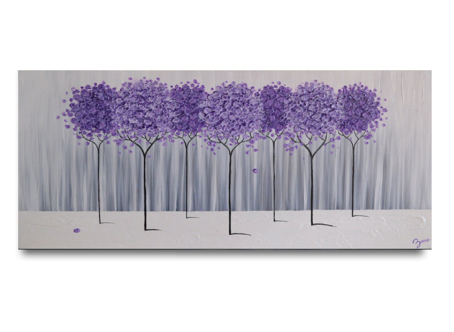 Large Modern Home Decor Purple Lavender Abstract Tree By
