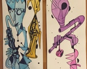 Two Illustration Package: Alto Flautist/Singer and Bass Clarinet/Soprano Sax Players