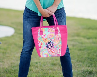 Cooler in pink summer paisley design.  Perfect Gift.  Personalized FOR FREE just for you.