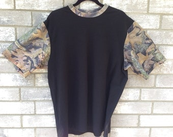 90s camouflage colorblock oversized t shirt