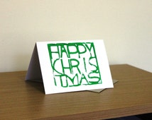Green Happy Christmas handmade Christmas card