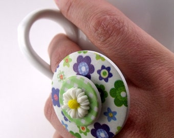 Over-sized Button Ring - Flowers & Gingham