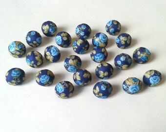 Fabric Button Push Pins - Push Pins - Handmade Thumbtacks - Pretty Push Pins - Flower Pins - Blue Push Pins - Office Supplies - Cork Boards
