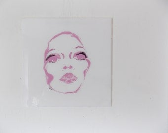 LIPSTICK LASHES LUCITE Kitschy Pink Vintage 1980's Pop Art Screen Print of Woman's Face on Plastic Panel