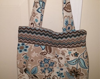 Brown, Cream, and Blue Floral and Chevron Pleated Tote