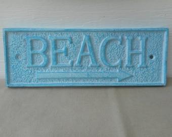 cast iron beach sign / beach decor / nautical decor