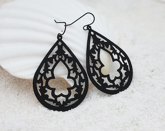 Gothic Cathedral Chandelier, Gothic Teardrop Filigree, Bohemian Chic Earrings, Modern Everyday Jewelry, Simple, Gift For Her, Earrings