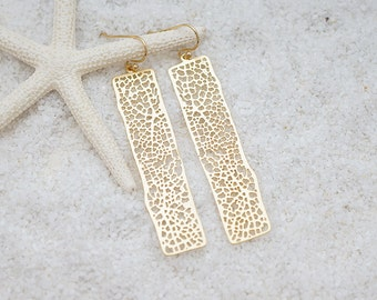 Mesh Bar Filigree Earrings, Minimal Chandelier, Bohemian Chic Earrings, Modern Everyday Jewelry, Simple, Gift For Her, Earrings