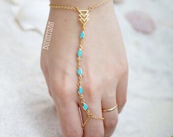 Beaded Chain Chevron Triangle Rosary Charms Yellow Orange Blue Chain, Gladiators Bracelet Hand Bracelet Finger Bracelet Slave Bracelet