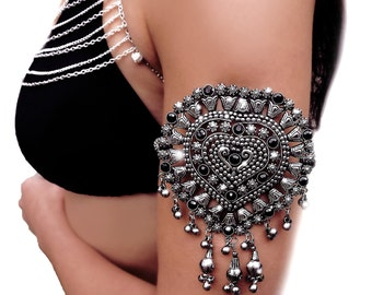 Upper arm bracelet, upper arm cuff, nepalese bracelet, rainbow bracelet, boho cuff jewelry, beaded cuff, gypsy bracelet, bellydancer, OOAK
