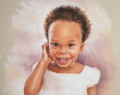 Pastel portrait of a little girl, Handmade portrait