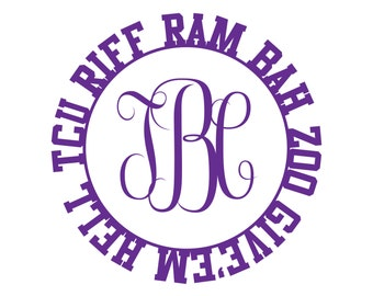 TCU Riff Ram Cursive Monogram Decal