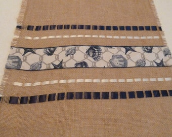 Blue Shell Burlap Table Runner