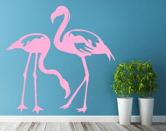 Vinyl Wall Decal Flamingo Couple Birds / Tropical Bird Silhouette Romantic Love Art Decor Sticker / DIY Mural + Free Random Decal Gift!
