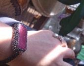 Macrame stone bracelet, agate bracelet healing stone bracelet natural stone bracelet adjustable macrame bracelet pink agate with zircon