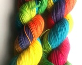 Bright Rainbow sparkle merino sock yarn
