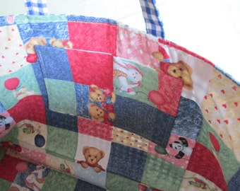 Gingham knitting bag with patchwork lining and ceramic geese buttons