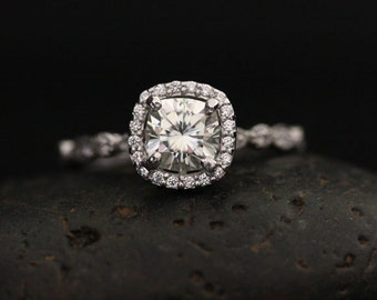 White Gold Moissanite Brilliant Cushion 6mm and Diamond Halo and Milgrain Engagement Ring Ring