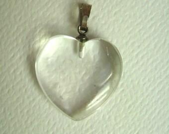 vintage clear quartz heart pendant