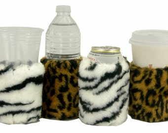 Beverage Insulator #FauxFur #Leopard #Zebra Eco #PocketHuggie-Reusable,Folds #Starbucks,Can, #WaterBottles, #Beer 2 Sizes-CUP & CAN/BOTTLE
