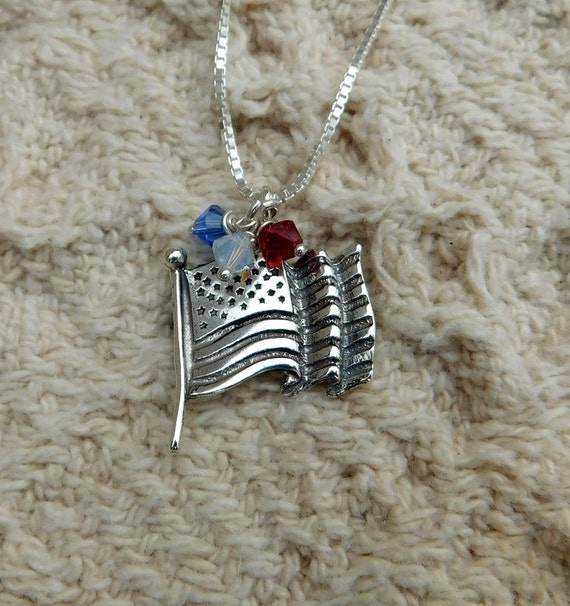 "Sterling silver American flag necklace, flag jewelry, patriotic jewelry, ""Proud to be an American"" necklace"